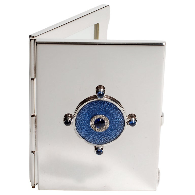 Sterling Silver Guilloché Blue Enamel Diamond and Sapphire Picture Frame Case For Sale