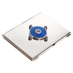 Sterling Silver Guilloché Blue Enamel Diamond Faceted Sapphire Mirror Case