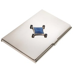 Sterling Silver Guilloché Blue Enamel Sapphire Card Case
