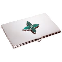 Sterling Silver Guilloché Enamel Emerald Card Case