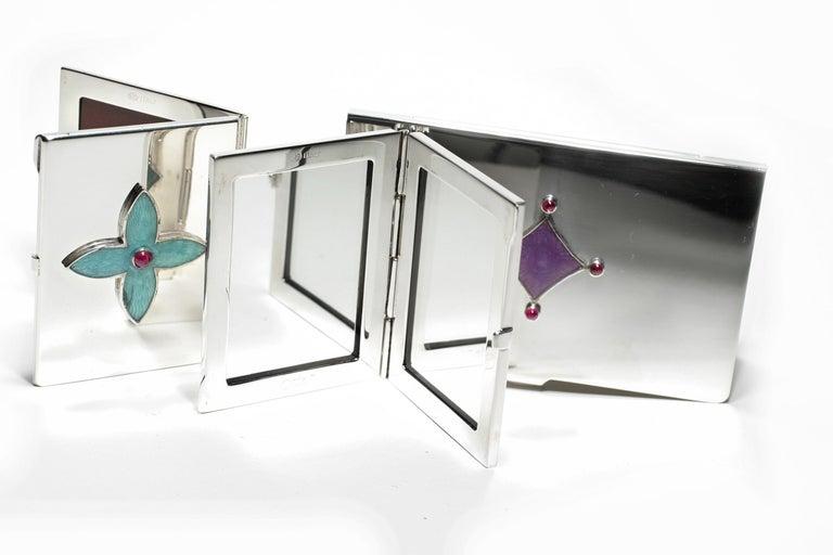Contemporary Sterling Silver Guilloché Green Enamel Diamond and Emerald Mirror Case For Sale