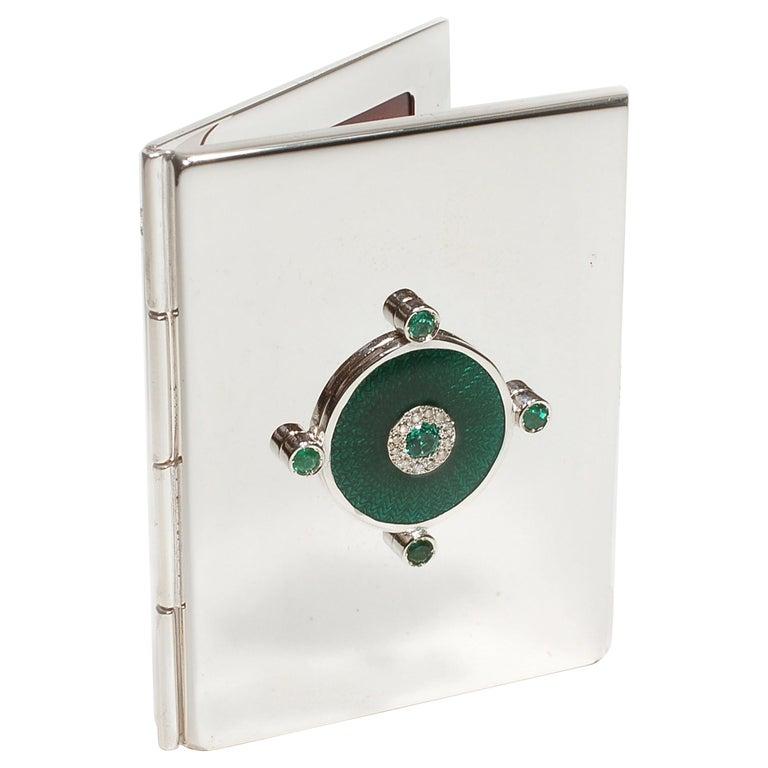 Sterling Silver Guilloché Green Enamel Diamond and Emerald Mirror Case For Sale
