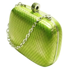 Sterling Silver Guilloché Green Enamel Diamond Minaudière One of a Kind