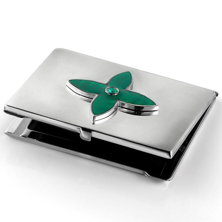 Round Cut Sterling Silver Guilloché Green Enamel Emerald Card Case For Sale