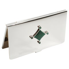 Sterling Silver Guilloché Green Enamel Emerald Card Case