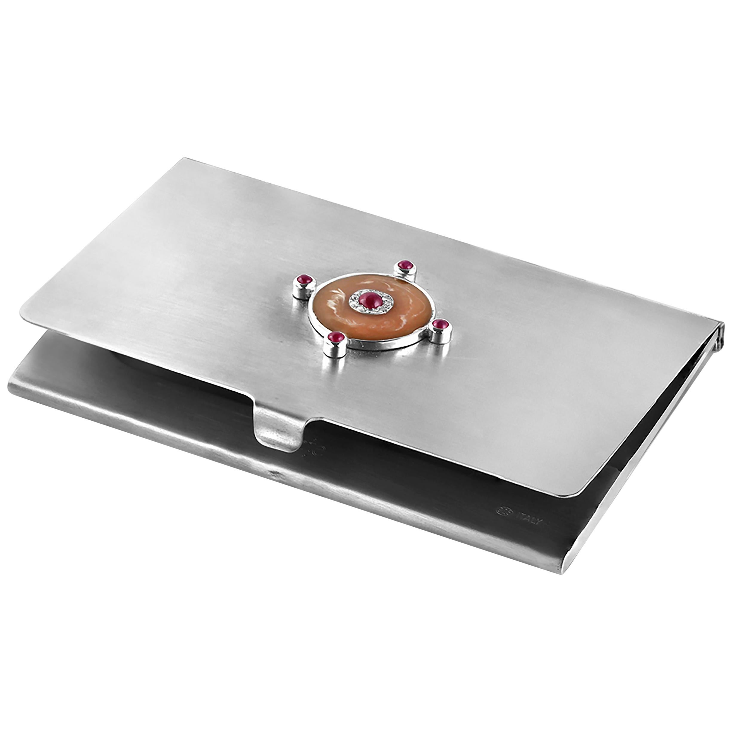 Sterling Silver Guilloché Pink Enamel Diamond and Ruby Card Case