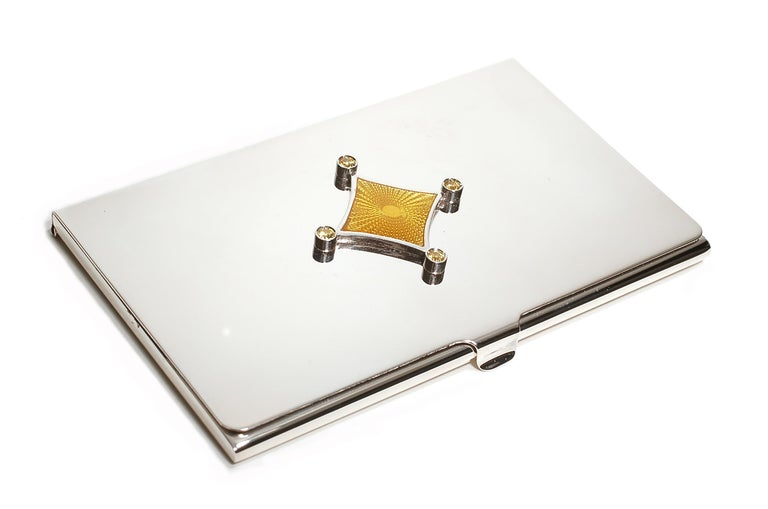 Contemporary Sterling Silver Guilloché Yellow Enamel Yellow Sapphire Card Case For Sale