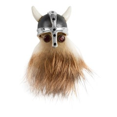 Sterling Silver Hairy Viking Lapel Pin With Black Helmet and Ruby Eyes