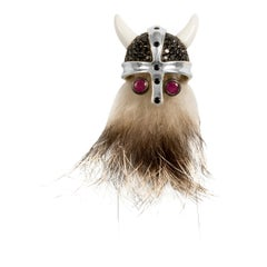 Sterling Silver Hairy Viking Lapel Pin With Black Spinel Helmet With Ruby Eyes
