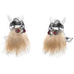 Sterling Silver Hairy Viking Skull with Black Helmet and Ruby Eye Cufflinks