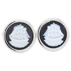 Sterling Silver Hand Carved Chalcedony Ship Yacht Cufflinks