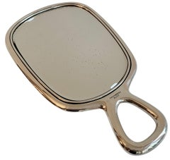 Sterling Silver Hand Mirror with Modern Handle