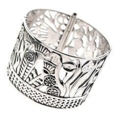 Sterling Silver Hand-Pierced Lotus Cuff Bangle