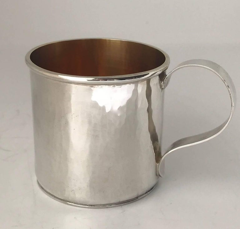 Arts and Crafts Sterling Silver Hand-Wrought Baby/Youth Cup For Sale