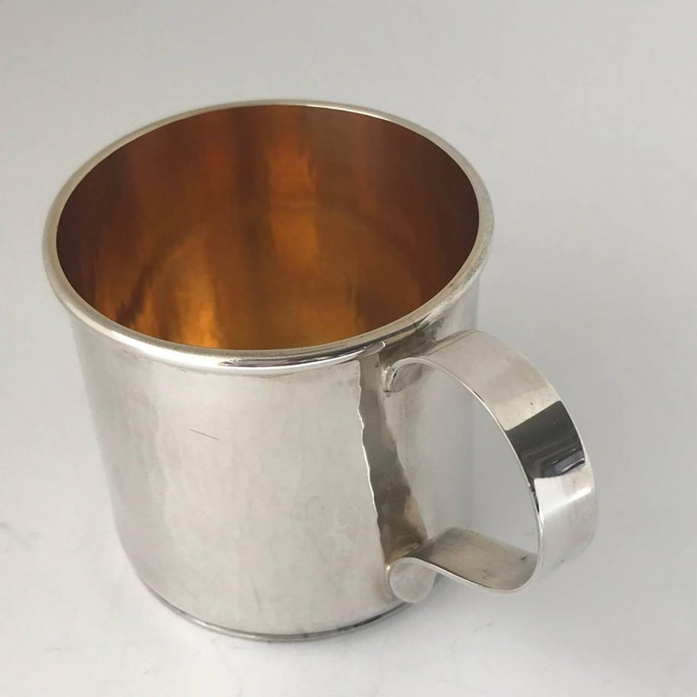 Hand-Crafted Sterling Silver Hand-Wrought Baby/Youth Cup For Sale
