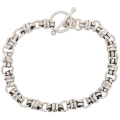 Sterling Silver Handmade Custom Charm Bracelet with Toggle Clasp 925, Bracelet