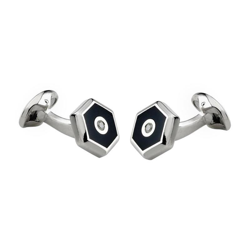 West Coast Jewelry Sterling Silver Onyx Cuff Links