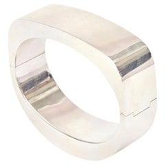 Sterling Silver Hinged Modernist Cuff Bracelet