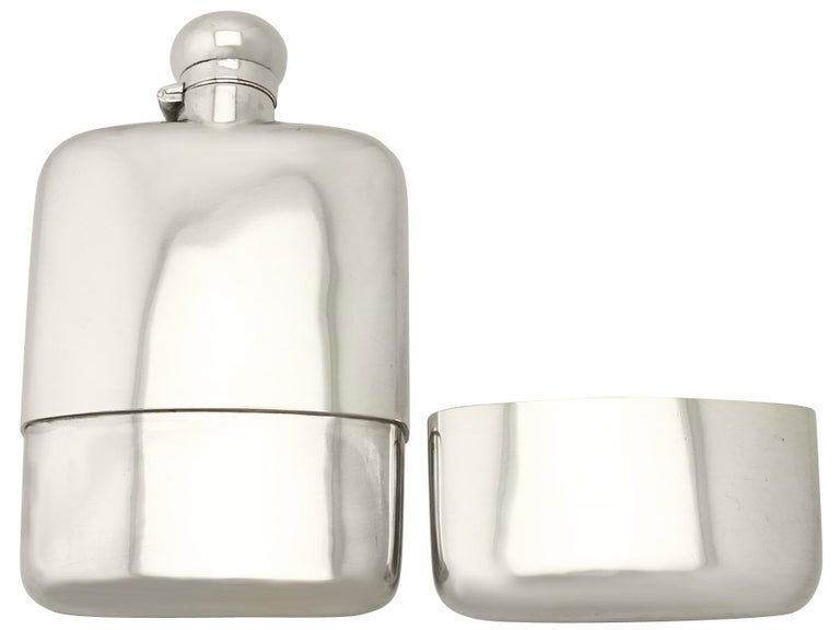 English Antique George V Sterling Silver Hip Flask by Stokes & Ireland Ltd For Sale