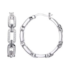 Sterling Silver Hoop Earrings with CZ links, 30mm, Snap Bar, Rhodium Finish