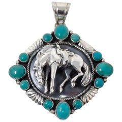 Sterling Silver Horse Pendant with Turquoise by Emer Thompson