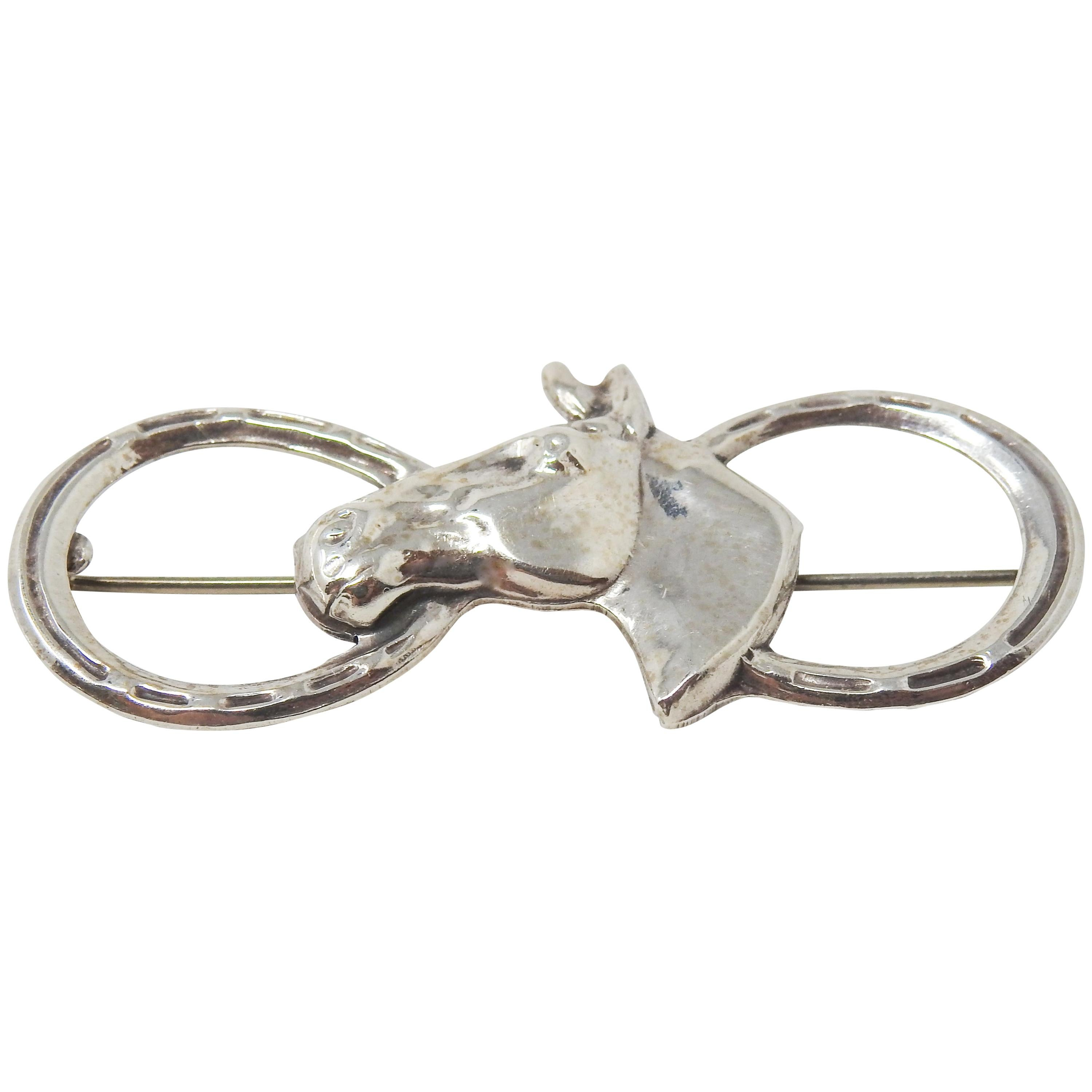 Sterling Silver Horseshoe and Horse Head Brooch