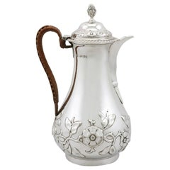 Sterling Silver Hot Water or Coffee Jug, Antique Victorian