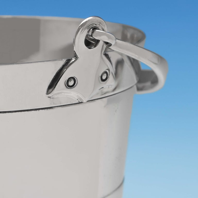English Victorian 'Bucket Shape' Antique Sterling Silver Ice Bucket by Henry Atkin, 1896 For Sale