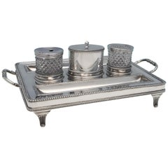 George III Antique Sterling Silver Ink Stand from London in 1802