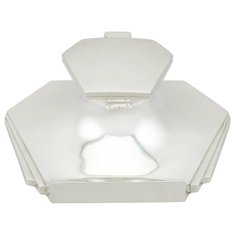 Sterling Silver Inkwell, Art Deco, Antique George V, 1931 For Sale