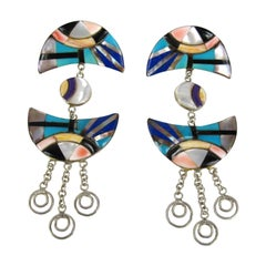 Sterling Silver Inlaid Turquoise Lapis Dangle Earrings - Hand Crafted