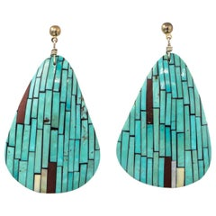 Sterling Silver Inlay Turquoise Jasper MOP on Shell Earrings