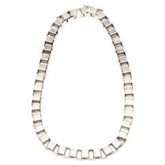 Sterling Silver Interlocking Geometric Cube Necklace Vintage Italian