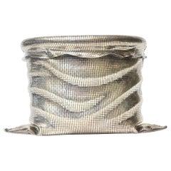 Sterling Silver Italian Sculptural Ice Bucket Vessel Barware Buccellati Style