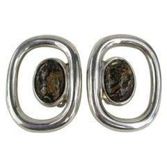 Sterling Silver Jasper Stone Earrings, Mexican Never worn