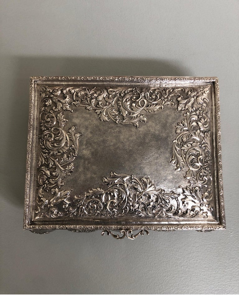 Italian Sterling Silver Jewellery Box, Completely Handmade, Made in Italy For Sale