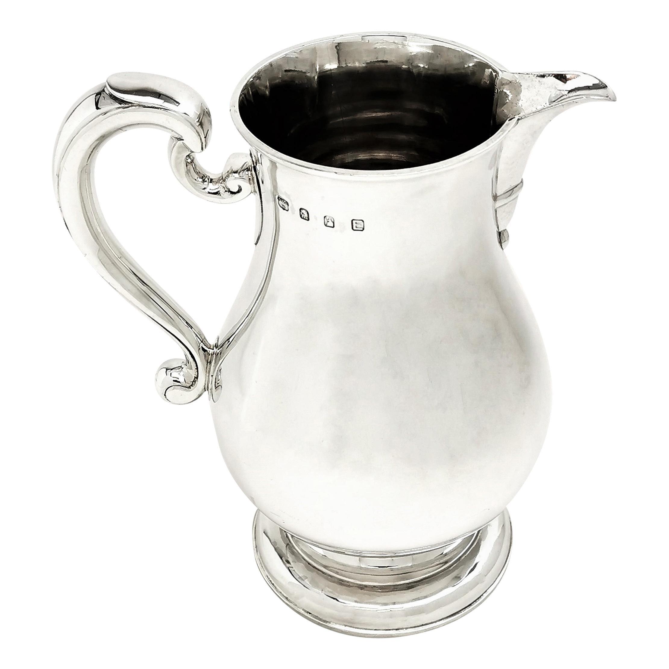 Sterling Silver Jug / Water Pitcher / Beer Jug Georgian Style 1940