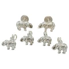 Sterling Silver Kieselstein-Cord Elephant Stud Set