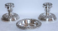 Sterling Silver  Kirk & Sons  Repousse Candle Holders & Bowl