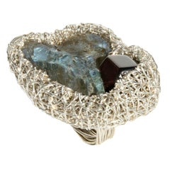 Sterling Silver Labradorite Garnet Statement Cocktail Ring from Sheila Westera