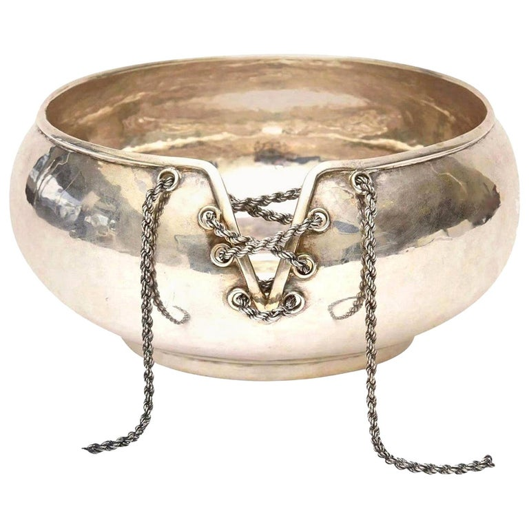 Sterling Silver Lace Up Chain Bowl or Wine Caddy Italian Barware Vintage For Sale