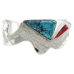 Sterling Silver Lander Turquoise Snake Cuff, 2-Stone