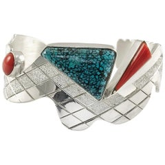 Sterling Silver Lander Turquoise Snake Cuff, 3-Stone