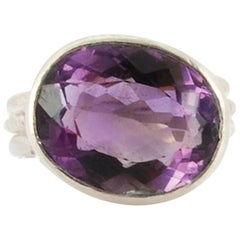 Sterling Silver Large Amethyst Ring