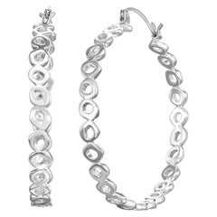 Sterling Silver Large Hoops with 14 Karat White Gold Earwire