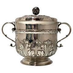 Sterling Silver Large Porringer & Cover London 1897 Edward Barnard & Sons