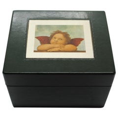 Sterling Silver, Leather, Document Box, Raphael, Green, Handcrafted, Italy