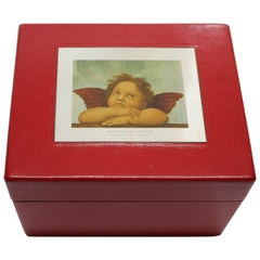 Sterling Silver, Leather, Document Box, Raphael, Red, Handcrafted, Italy