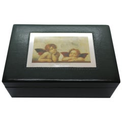 Sterling Silver, Leather, Jewelry Box, Raphael, Green, Handcrafted, Italy