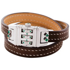 Sterling Silver Leather Wrap Emerald Diamond Code Bracelet